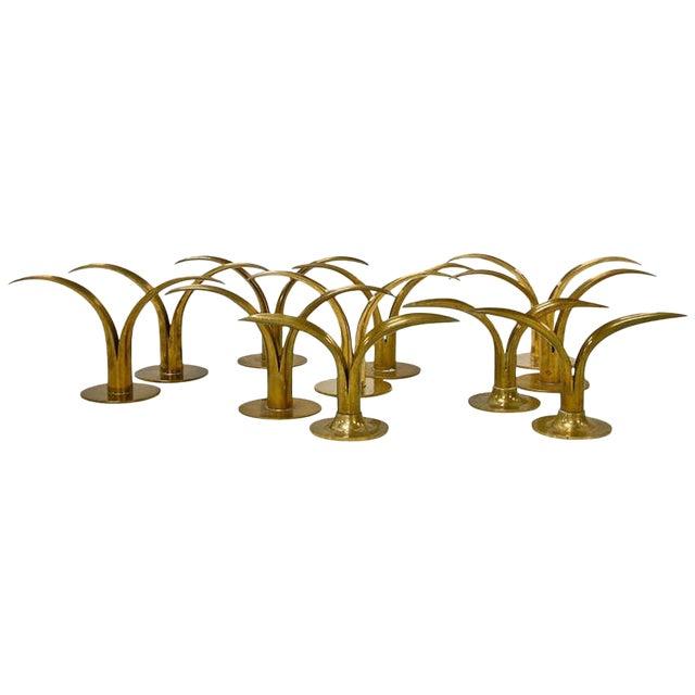 Circa 1950 Grouping of 11 Swedish Ystad Metall Brass Candleholders For Sale