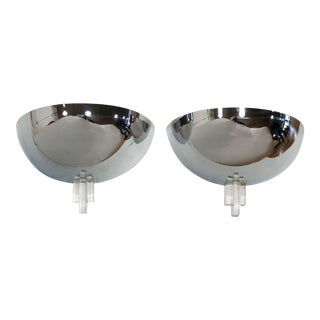 Art Deco Style Demilune Chrome Wall Sconces by Boyd - a Pair For Sale