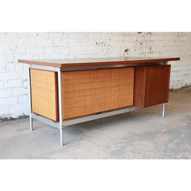 1960s Jens Risom Mid-Century Modern Executive Desk in Walnut, Cane, and Steel For Sale - Image 5 of 13