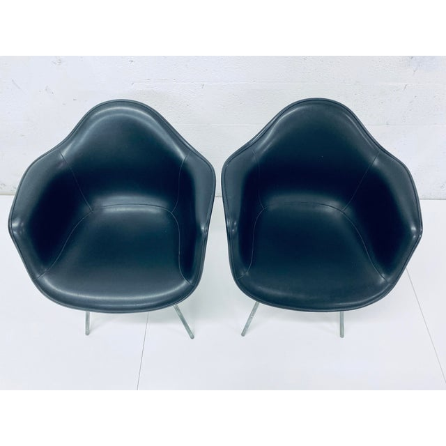 Herman Miller Herman Miller Black Leather Arm Chairs by Charles and Ray Eames, 1950 - a Pair For Sale - Image 4 of 12