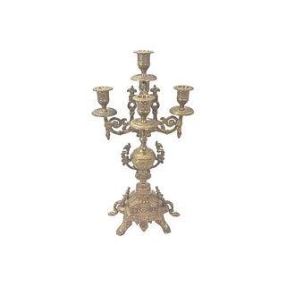 Ornate Brass Five Arm Candelabra For Sale