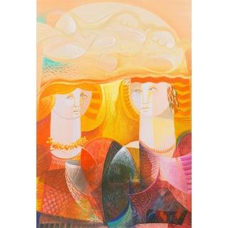 'Lovers Beneath a Tree of Doves' by Vittorio Maria Di Carlo, New Figurative Movement, Italian Modernist Oil For Sale