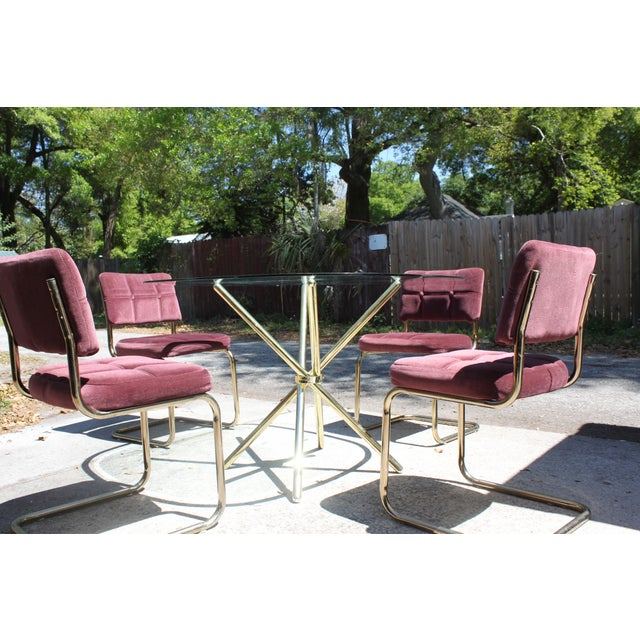 Vintage 70's Brass & Glass Table & Chairs - Image 6 of 8
