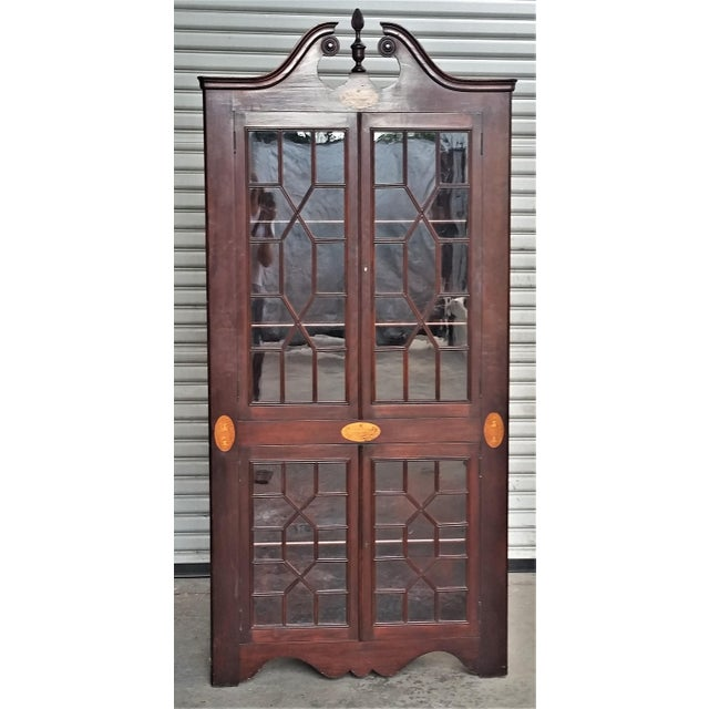 Antique Mahogany Corner China Cabinet For Sale - Image 13 of 13