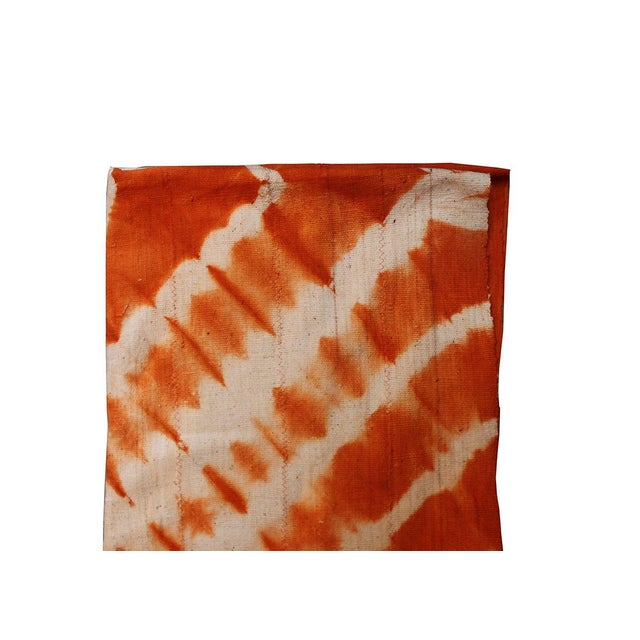 Boho Chic Tangerine Orange Mud Cloth Textile For Sale - Image 3 of 4