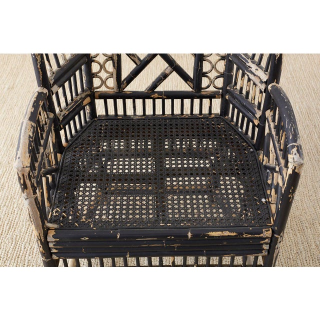 Wood Brighton Bamboo Rattan Chinese Chippendale Lacquered Chairs For Sale - Image 7 of 13