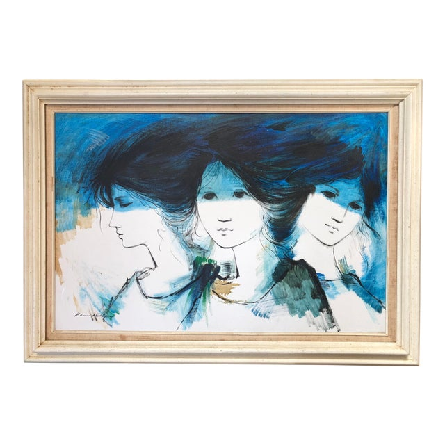 1970s Vintage Kevin McAlpin Ladies in Blue Oil Painting For Sale