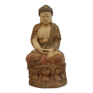 Carved Wooden Quan Yin With Gesso Finish