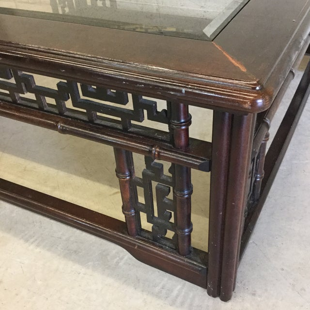 Mahogany Asian Style Glass Top Coffee Table For Sale - Image 4 of 10