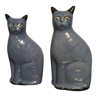 Vintage Calico China Blue Cat Figurines - a Pair For Sale