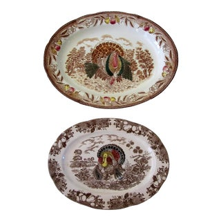 Brown Transferware Turkey Platters - A Pair For Sale
