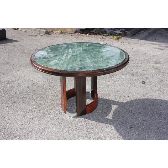 French Art Deco Macassar Ebony Round Center Table With Green Marble Top For Sale - Image 11 of 13