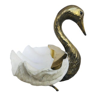 1980s Italian Shell Body Brass Swan Centerpiece For Sale
