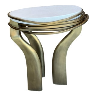 R & Y Augousti Cream Shagreen and Brass Galaxy Table (S) For Sale