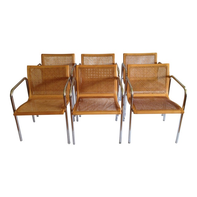 Chrome Dining Chairs with Caning - Set of 6 - Image 1 of 8