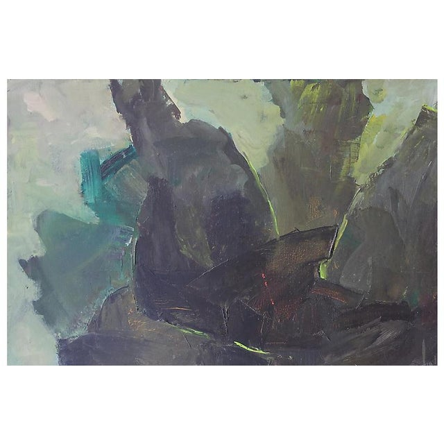 The American School Abstract in Charcoal and Sage, 1960s For Sale - Image 3 of 6