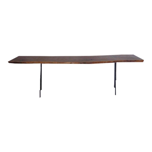 Dos Gallos Studio Black Walnut Console With Iron Legs For Sale