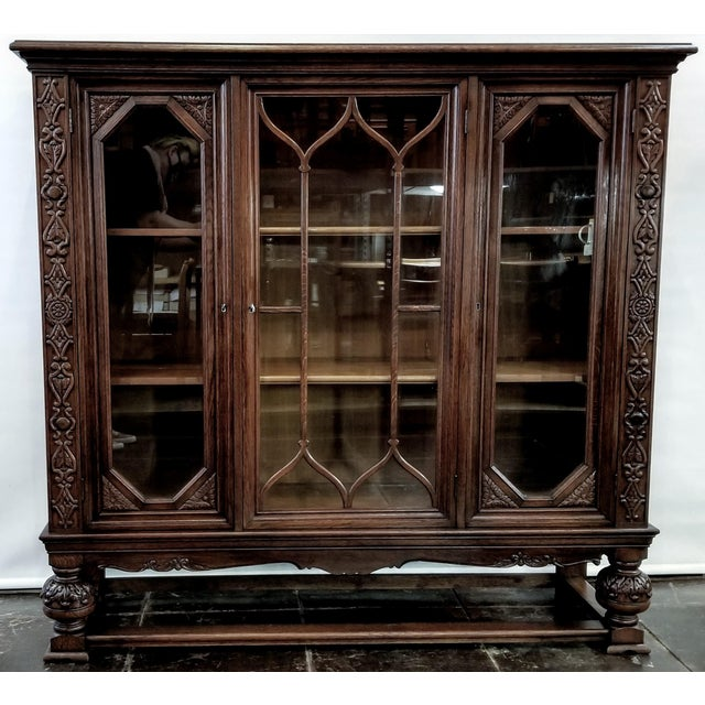 Coffee Antique French Renaissance Revival Carved Oak Glazed Bookcase For Sale - Image 8 of 8
