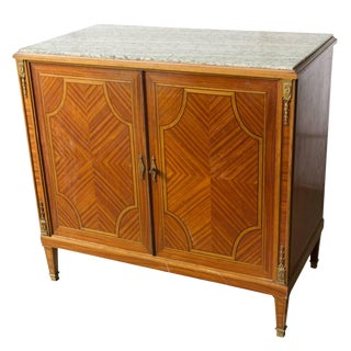 French Storage Cabinet With Green Marble Top For Sale