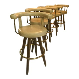Vintage Mid Century Modern 1970's Swivel Bar Stools Walnut, Brass, and Vinyl - Set of 5 For Sale