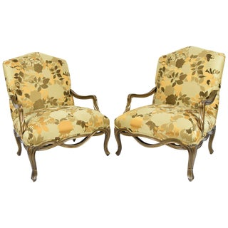 Custom Louis XVI Style Lounge Chairs with Rubelli Fabric - A Pair