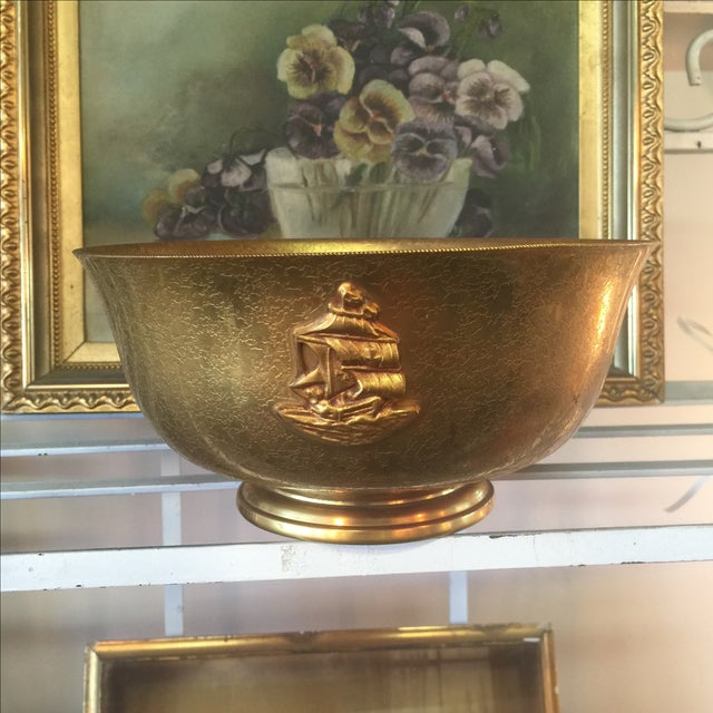 Tiffany Bronze Gold Guilt Bowl - Image 2 of 5