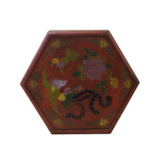Chinese Distressed Brown Red Bird Graphic Hexagon Shape Box For Sale