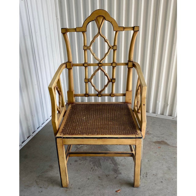 Hollywood Regency Vintage Bamboo Fretwork Armchair For Sale - Image 3 of 11