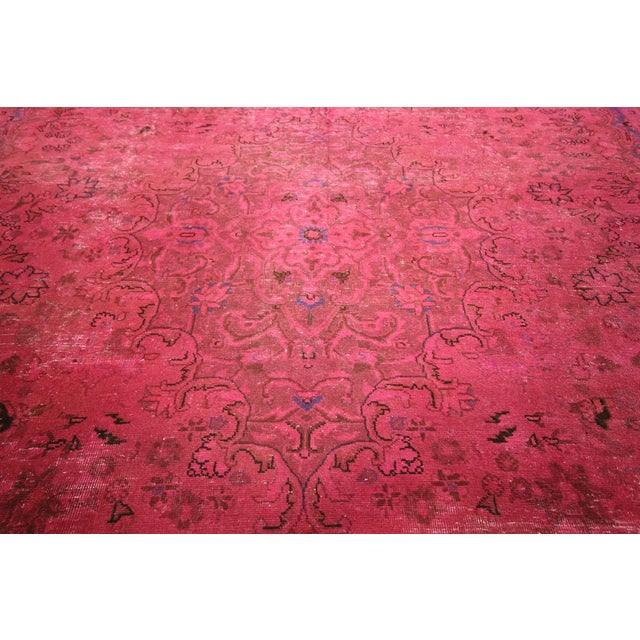 Pink Floral Overdyed Oriental Area Rug - 9' x 12' - Image 8 of 10