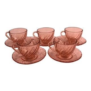 Vintage Mid-Century Modern Rose Pink Glass Teacups - Set of 5 For Sale