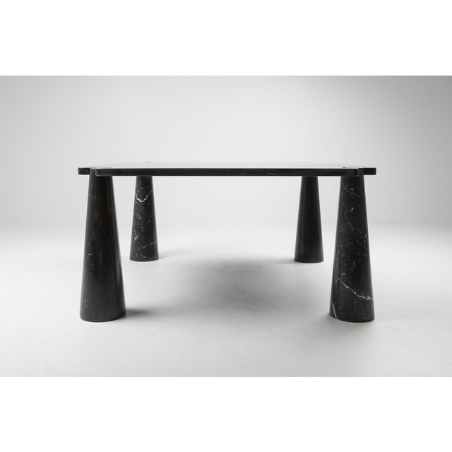 Angelo Mangiarotti, dining table, black marble, 1970s. Rare square version of the dining table produced by Skipper. This...