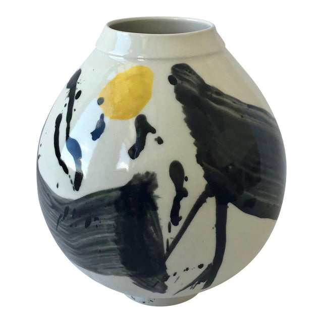 Contemporary Ceramic Calligraphic Yellow and Black Moon Vase For Sale