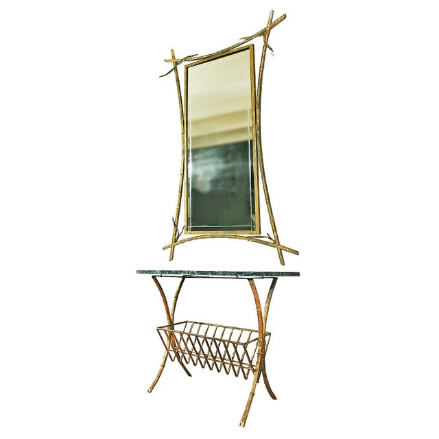 Mid-Century Modern 1950s Console, Mirror, Magazine Rack Ensemble - Spain For Sale - Image 3 of 9
