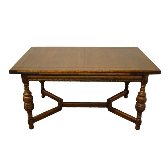 """Vintage Antique Oak English Revival Gothic Jacobean 84"""" Draw Leaf Dining Table For Sale - Image 11 of 11"""