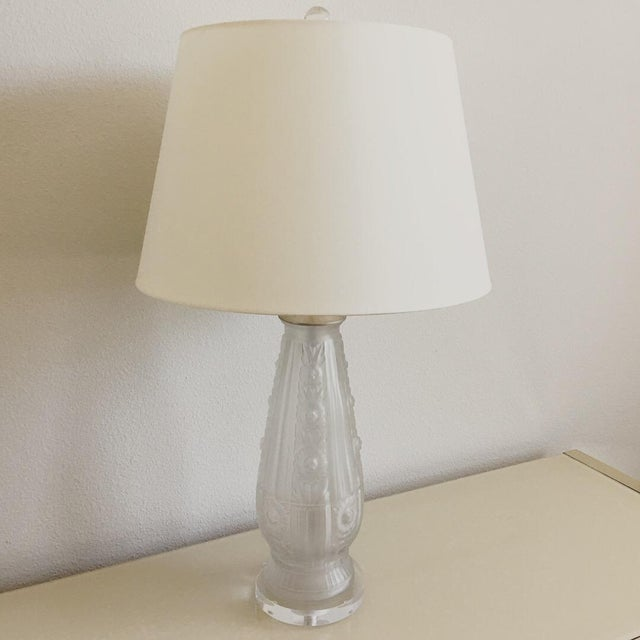 Metal Antique French Frosted Glass Lamp For Sale - Image 7 of 7