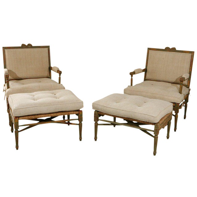Louis XIV Style Pailles Fauteuils With Footstools - a Pair For Sale