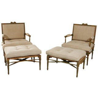 Pair of Louis XIV Style Pailles Fauteuils With Footstools For Sale