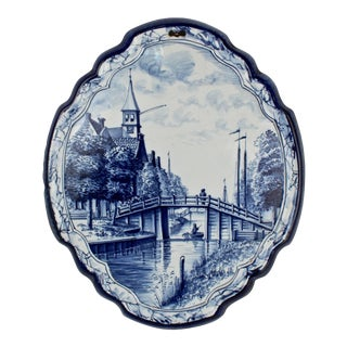 Antique Blue and White Dutch Delft Pottery Wall Plaque with Canal Scene For Sale