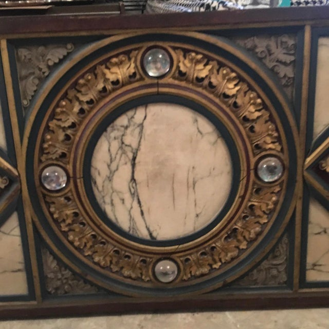 18th Century Antique French Polychrome Wood, Marble, & Glass Panel For Sale - Image 9 of 13