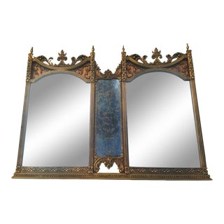 Hollywood Regency Gilt Double Mirror For Sale