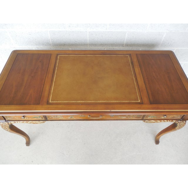 Drexel Et Cetera Chinoiserie Tooled Leather Top Writing Desk - Image 3 of 11