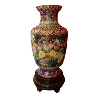 Chinese Cloisonne Blue/Flower Basket Floor Vase & Stand For Sale