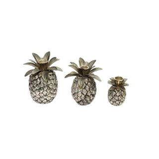 Vintage Silver Pineapple Candle Holders - Set of 3 For Sale