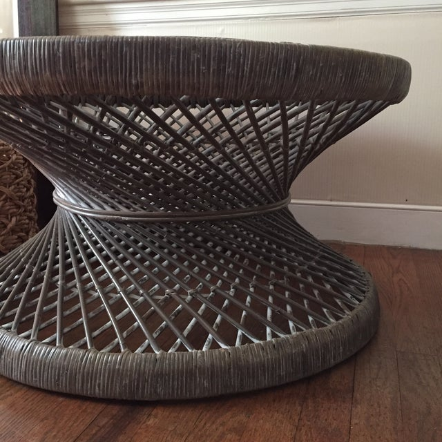 Round Rattan Woven Coffee Table Color: grey and white Excellent condition