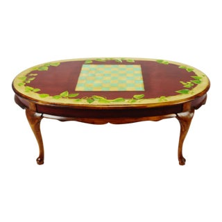 Vintage Hand Painted Checkerboard Top Coffee Table For Sale