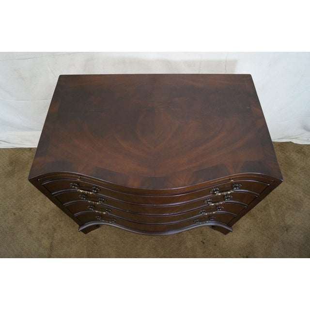Flame Mahogany Serpentine Chippendale Style Chests of Drawers - A Pair - Image 9 of 10