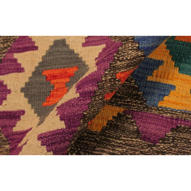Mary Gray/Blue Hand-Woven Kilim Wool Rug -5'10 X 8'4 For Sale - Image 4 of 8