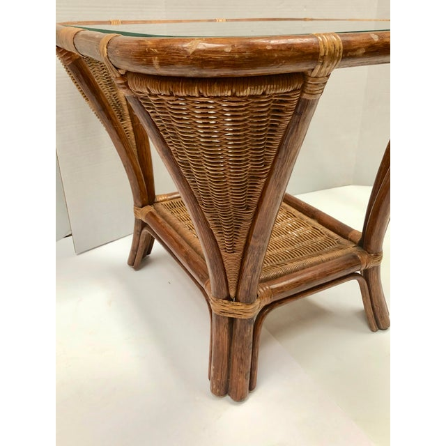 Wicker 1940s Rattan and Wicker Side Table For Sale - Image 7 of 12
