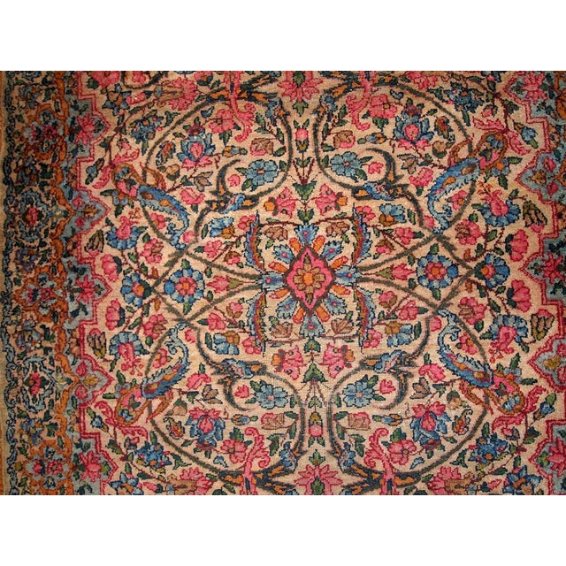1920s Hand Made Antique Persian Kerman Rug 3.2' X 4.9' For Sale - Image 4 of 7