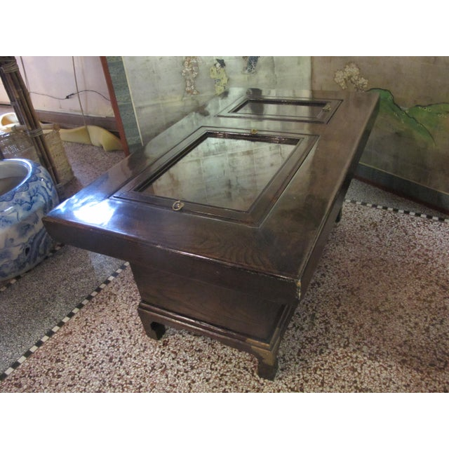 Japanese Dark Wood Grain Hibachi Coffee Table With Drawers For Sale - Image 9 of 11